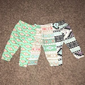 3 Tribal Print Leggings